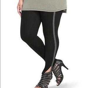 Torrid black leggings with gray athletic stripe